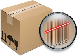 shipping box with a tracking code label
